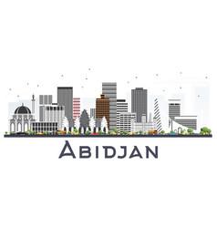 Abidjan ivory coast city skyline with gray vector