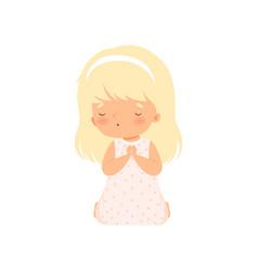 Adorable little girl kneeling in prayer cartoon vector