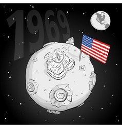 astronaut whith flag USA on the moon bw vector image
