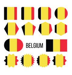 belgium flag collection figure icons set vector image
