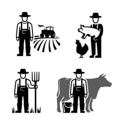Black farmer vector
