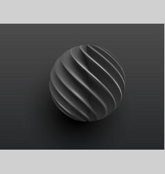 black paper cut 3d realistic layered sphere vector image