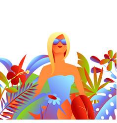 blonde girl in sunglasses vector image