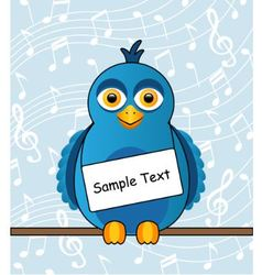 blue bird with a sign vector image