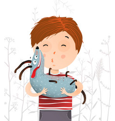 Boy holding kissing dog portrait vector