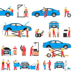 Car repairement service with professional workers vector