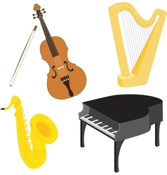 Cartoon music instruments set vector image