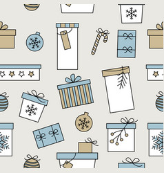christmas seamless pattern with hand drawn various vector image