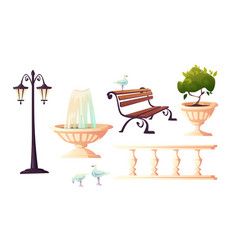 city park with fountain bench and gulls vector image