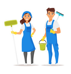 cleaning service man and woman vector image