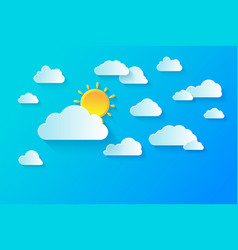 clear summer sky with white fluffy clouds summer vector image