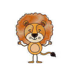 Color crayon silhouette caricature of cute lion vector