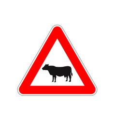 cow icon on triangle red and white road sign vector image