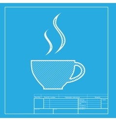 Cup of coffee sign White section of icon on vector image