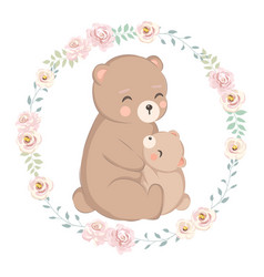Cute mommy and babear together vector