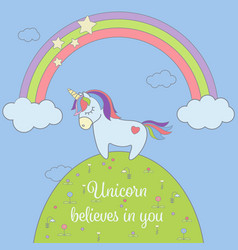 Cute unicorn and rainbow with stars and clouds vector