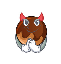 devil chocolate donut mascot cartoon vector image