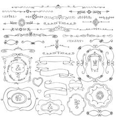 Doodle borderframeribbonstHand sketchedLove vector