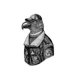 Eagle character in coat aviator pilot vector