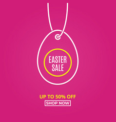 easter sale happy easter egg line linear tag egg vector image