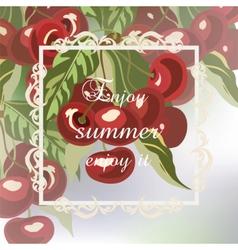 Enjoy Summer Cherry fruits Card vector