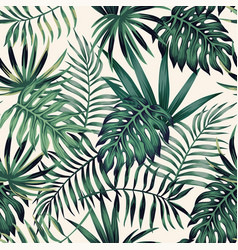 Exotic tropical leaves seamless pattern white vector