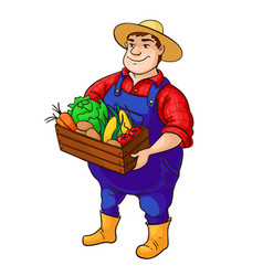 Farmer character cartoon cute fat man in vector