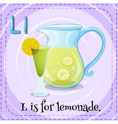 Flashcard letter l is for lemonade vector