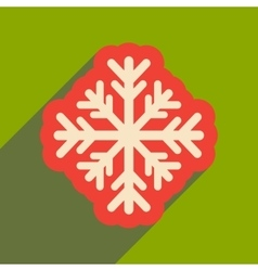 Flat icon with long shadow winter snowflake vector
