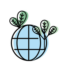 Global earth planet with leaves and environment vector