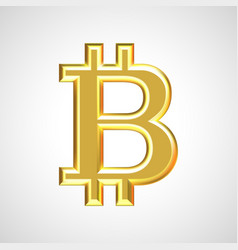 golden bitcoin sign symbol vector image