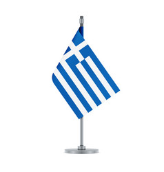 greek flag hanging on the metallic pole vector image