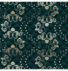 Green seamless Rococo floral vector image