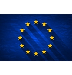 Grunge Flag Of Europe on crumpled paper background vector