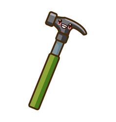 hammer construction tool kawaii cartoon vector image