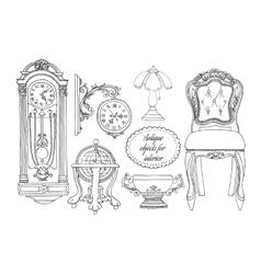 Hand drawn retro furniture set vector image