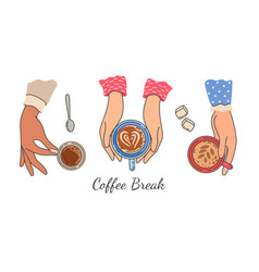 Hands holding coffee cups top view female hand vector