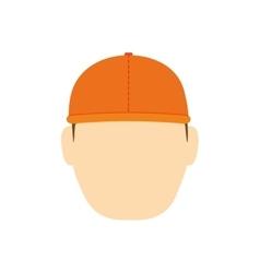 Helmet man constructer cartoon icon vector