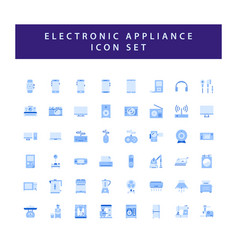 home appliances electronic icon set with colorful vector image