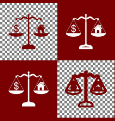 House and dollar symbol on scales bordo vector