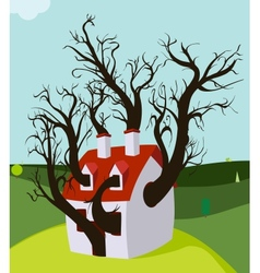 House Tree Grown Inside vector image
