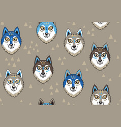 husky or wolf seamless pattern vector image vector image