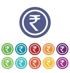 Indian rupee signs colored set vector
