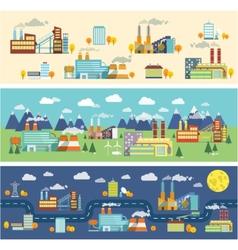 Industry buildings horizontal banners vector