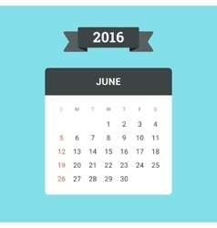 June 2016 Calendar vector image