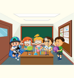 Kids doing science lab experiment vector