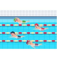 Kids swim children swimming competition in pool vector