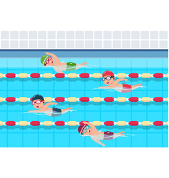 Kids swim childrens swimming competition in pool vector
