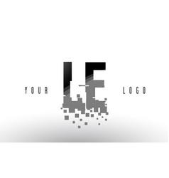 Le l e pixel letter logo with digital shattered vector