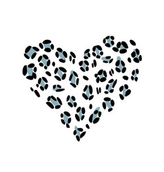 Leopard blue print skin in the shape of a heart vector